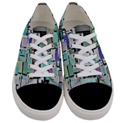 Background Painted Squares Art Women s Low Top Canvas Sneakers