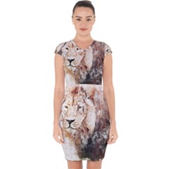 Lion Animal Art Abstract Capsleeve Drawstring Dress