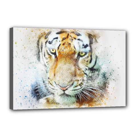Tiger Animal Art Abstract Canvas 18  X 12  by Celenk