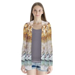 Tiger Animal Art Abstract Drape Collar Cardigan