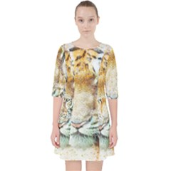 Tiger Animal Art Abstract Pocket Dress by Celenk