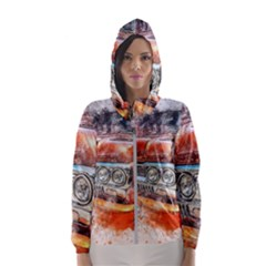 Car Old Car Art Abstract Hooded Wind Breaker (women) by Celenk