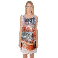 Car Old Car Art Abstract Sleeveless Satin Nightdress by Celenk