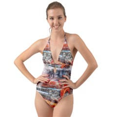 Car Old Car Art Abstract Halter Cut Out One Piece Swimsuit