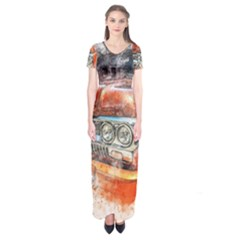Car Old Car Art Abstract Short Sleeve Maxi Dress