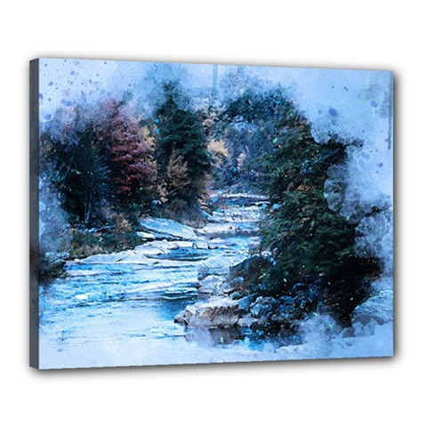 River Water Art Abstract Stones Canvas 20  X 16  by Celenk