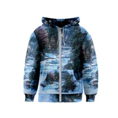 River Water Art Abstract Stones Kids  Zipper Hoodie