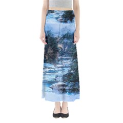 River Water Art Abstract Stones Full Length Maxi Skirt