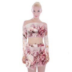 Flowers Bouquet Art Abstract Off Shoulder Top With Mini Skirt Set by Celenk