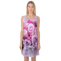 Flowers Roses Bouquet Art Abstract Sleeveless Satin Nightdress by Celenk
