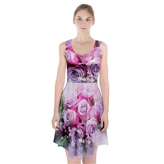Flowers Roses Bouquet Art Abstract Racerback Midi Dress