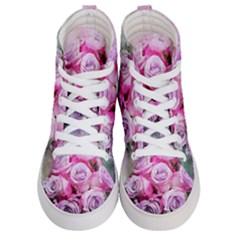 Flowers Roses Bouquet Art Abstract Women s Hi-top Skate Sneakers