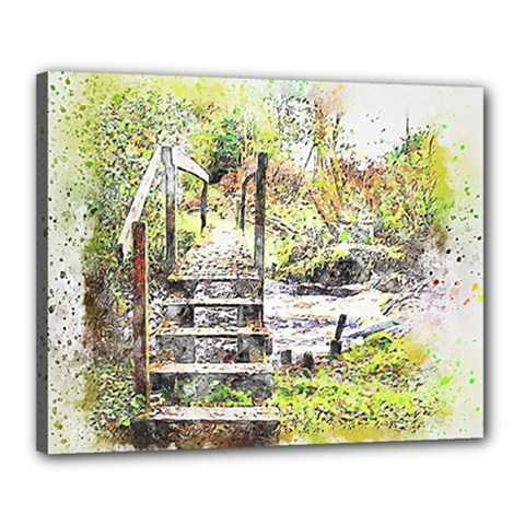 River Bridge Art Abstract Nature Canvas 20  X 16  by Celenk