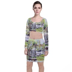 River Bridge Art Abstract Nature Long Sleeve Crop Top & Bodycon Skirt Set