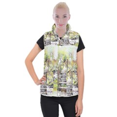 River Bridge Art Abstract Nature Women s Button Up Puffer Vest