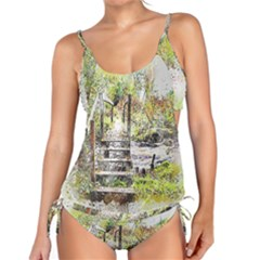 River Bridge Art Abstract Nature Tankini Set