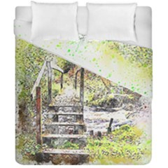River Bridge Art Abstract Nature Duvet Cover Double Side (california King Size) by Celenk