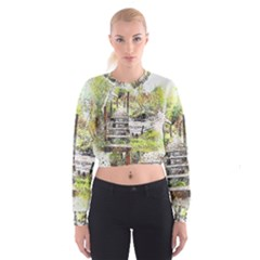 River Bridge Art Abstract Nature Cropped Sweatshirt