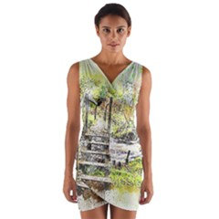 River Bridge Art Abstract Nature Wrap Front Bodycon Dress