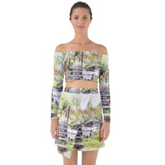 River Bridge Art Abstract Nature Off Shoulder Top With Skirt Set