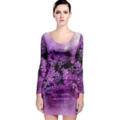 Flowers Spring Art Abstract Nature Long Sleeve Bodycon Dress
