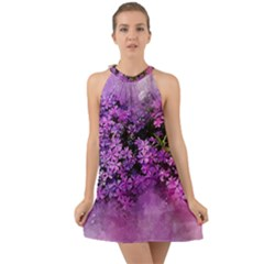 Flowers Spring Art Abstract Nature Halter Tie Back Chiffon Dress by Celenk
