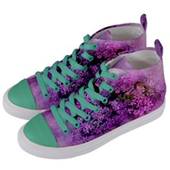 Flowers Spring Art Abstract Nature Women s Mid Top Canvas Sneakers by Celenk