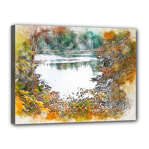 River Water Art Abstract Stones Canvas 16  X 12