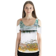 River Water Art Abstract Stones Butterfly Sleeve Cutout Tee