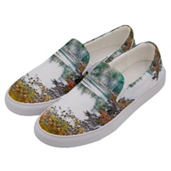 River Water Art Abstract Stones Men s Canvas Slip Ons by Celenk
