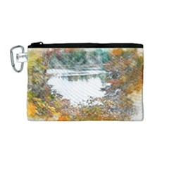 River Water Art Abstract Stones Canvas Cosmetic Bag (medium) by Celenk