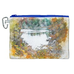 River Water Art Abstract Stones Canvas Cosmetic Bag (xl) by Celenk
