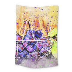 Fruit Plums Art Abstract Nature Small Tapestry by Celenk