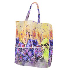 Fruit Plums Art Abstract Nature Giant Grocery Zipper Tote by Celenk