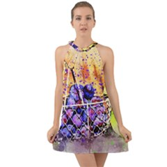 Fruit Plums Art Abstract Nature Halter Tie Back Chiffon Dress by Celenk