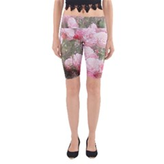 Flowers Roses Art Abstract Nature Yoga Cropped Leggings by Celenk