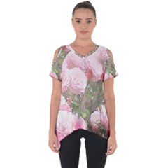 Flowers Roses Art Abstract Nature Cut Out Side Drop Tee