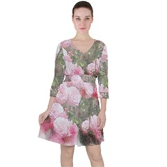 Flowers Roses Art Abstract Nature Ruffle Dress