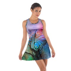 Lizard Reptile Art Abstract Animal Cotton Racerback Dress by Celenk