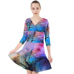 Lizard Reptile Art Abstract Animal Quarter Sleeve Front Wrap Dress