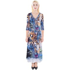 Tiger Drink Animal Art Abstract Quarter Sleeve Wrap Maxi Dress by Celenk