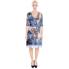 Tiger Drink Animal Art Abstract Wrap Up Cocktail Dress