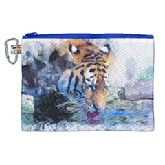 Tiger Drink Animal Art Abstract Canvas Cosmetic Bag (xl) by Celenk