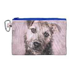 Dog Pet Terrier Art Abstract Canvas Cosmetic Bag (large)