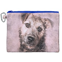 Dog Pet Terrier Art Abstract Canvas Cosmetic Bag (xxl) by Celenk