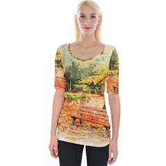 Tree Park Bench Art Abstract Wide Neckline Tee