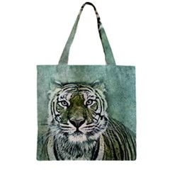 Tiger Cat Art Abstract Vintage Zipper Grocery Tote Bag