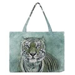 Tiger Cat Art Abstract Vintage Zipper Medium Tote Bag by Celenk