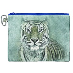 Tiger Cat Art Abstract Vintage Canvas Cosmetic Bag (xxl) by Celenk