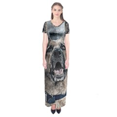 Dog Pet Art Abstract Vintage Short Sleeve Maxi Dress